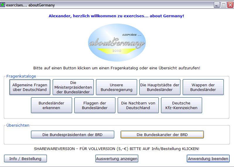 Screenshot vom Programm: exercises... about Germany