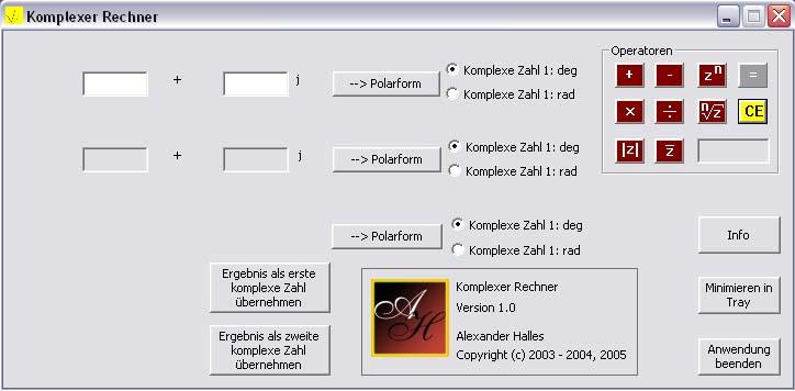 Screenshot vom Programm: Komplexer Rechner