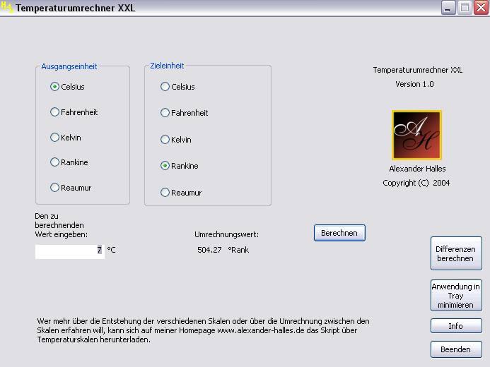 Screenshot vom Programm: Temperaturumrechner